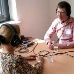 Beim Interview zu Erklärvidos von Schüler/innen. Foto: Nowak